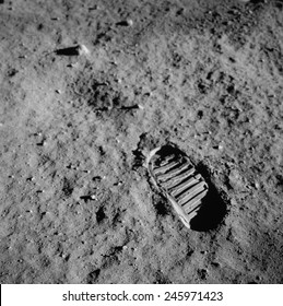 Apollo 11 boot print on the Moon. July 20, 1969.
