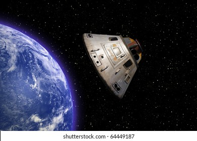 Apollo 13 space capsule orbiting Earth in space