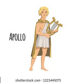 Apollo, ancient Greek god of archery, music, poetry and the sun with lyre. Ancient Greece mythology. Flat illustration. Isolated on white background. Raster version.