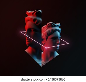 Apollo background concept. Cyberpunk background. 3D rendering.