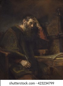 The Apostle Paul, by Rembrandt van Rijn, c. 1657, Dutch painting, oil on canvas. Meditative Paul at a table in his prison cell, holding a writing quill. Pertinent to the Protestant Dutch Republic, Pa