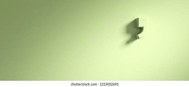 Apostrophe mark on pastel green wall background, banner, copy space. 3d illustration