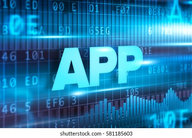 App abstract concept blue text blue background