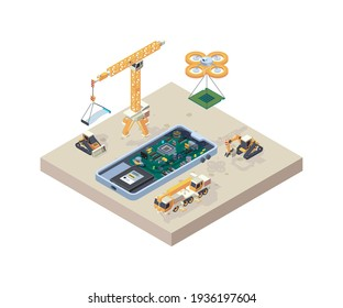 App construction. Crane truck computer micro scheme for smartphone devices repair phone construction isometric concept