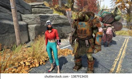 Appalachia, West Virginia / USA - 05.04.19: Girl and supermutant. Fallout 76 game screenshot.
