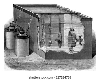Apparatus for nickel electroplating, vintage engraved illustration. Magasin Pittoresque (1882).