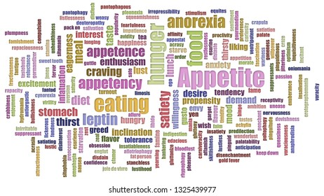 Appetite Tag Cloud Mixed On White Background