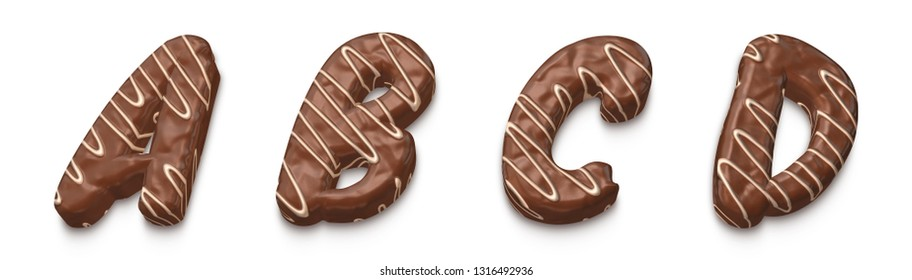Appetizing chocolate font alphabet letter set a, b, c, d Realistic 3d illustration of alphabet chocolate snack bar. Creative collection of food font for your Brilliant design in several concept idea