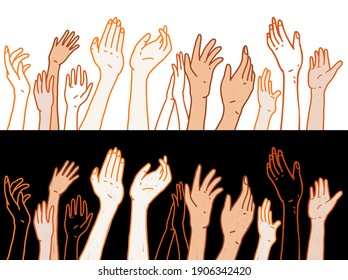 Applaud hands in two background, rough paint hand drawn style illustration, Acceptance concept illustration, digital painting