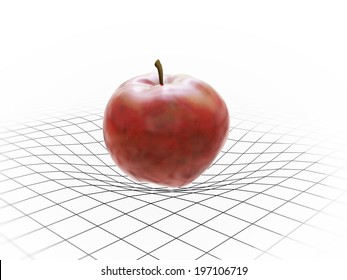 An apple bending spacetime - gravity concept