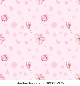Apple blossom and geometrical shapes pattern painted in watercolors on tender pink background. Elegant design for springtime. Good for fabric, wrapping paper, wallpapers and more.