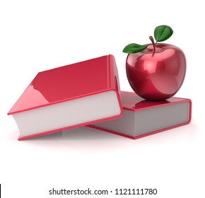 apple books red. reading symbol. education, school studying, college knowledge, wisdom idea concept. 3d illustration