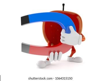 Apple character holding horseshoe magnet isolated on white background. 3d illustration