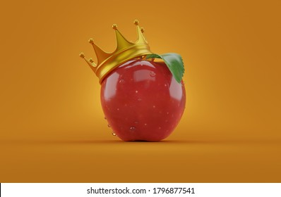 Apple with crown on orange background. 3d illustration