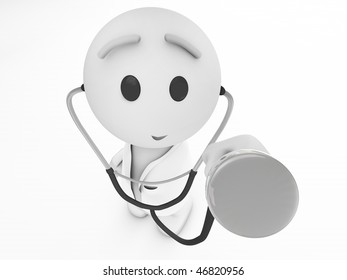 an apple the day keeps the doctor away a cute 3d medic (3d isolated happyman series)