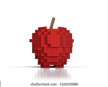 Apple formed by voxels 3D illustration