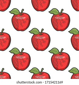 Apple fruit color seamless pattern background sketch engraving raster illustration. T-shirt apparel print design. Scratch board imitation. Black and white hand drawn image.