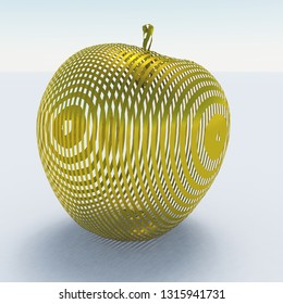 Apple made of gold. 3D rendering