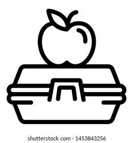 Apple on lunchbox icon. Outline apple on lunchbox icon for web design isolated on white background