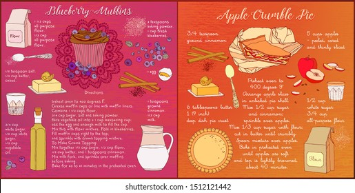 Apple pie and blueberry muffin recipe cards.