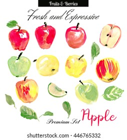 Apple. Set of expressive illustrations. Apples painted by watercolor and acrylic. Red apple, green apple, yellowapple, leaf, half an apple painted on white background. Supersize. Good for cutting.