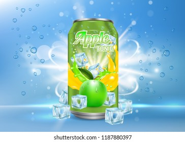 Apple tonic aluminum can packaging mock up. realistic illustration of aluminium can with label of soft drink with ice cubes, bubbles. 3d apple tonic poster, banner, flyer design template.