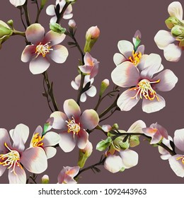 Apple tree flowers Illustration. Watercolor seamless pattern