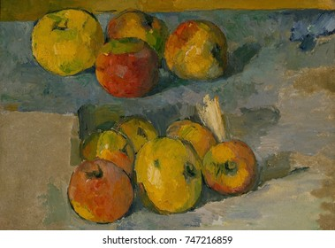 Apples, by Paul Cezanne, 1878-79 or 1883-87, French Post-Impressionist painting, oil on canvas. Cezanne\x90s dealer, Ambroise Vollard, sold this picture to the painter Edouard Vuillard, in exchange