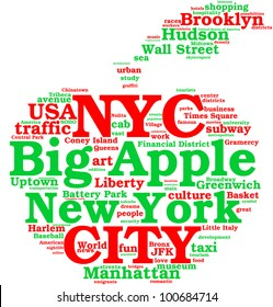 Apple-shaped tag cloud celebrating New York city with correlated green and red words / New York city, the big apple tag cloud