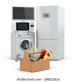 Appliance repair. Toolbox and tv, refrigerator, washing machine, microwave oven. 3d