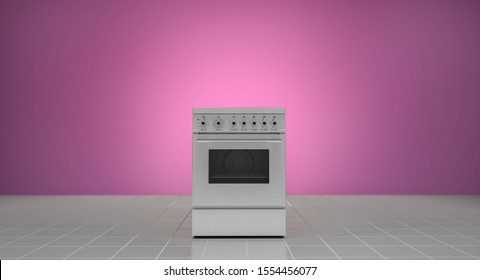 Appliances, 3d illustration, gas stove