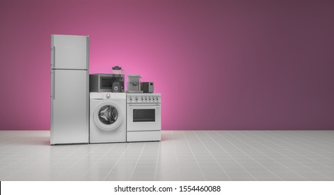 Appliances, 3d illustration with pink wall