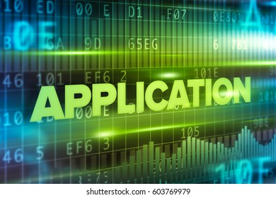 Application abstract concept blue text blue background
