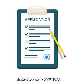Application Form. Documents with Stamp and Pencil.