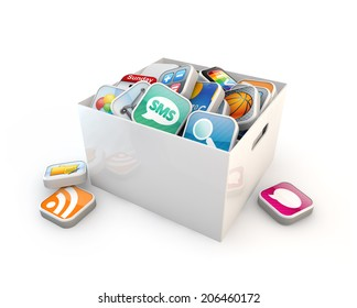 application software box isolated white background