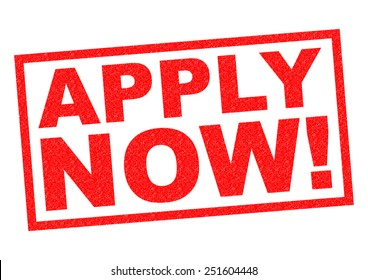 APPLY NOW! red Rubber Stamp over a white background.