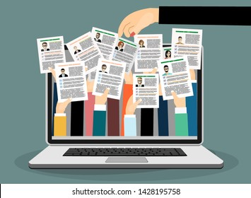 Applying for job, giving CV, job competition out from laptop concept