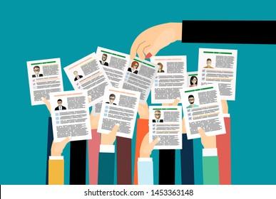 Applying for job, giving CV, job competition, concept