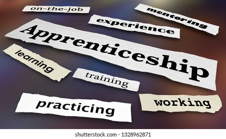 Apprenticeship Newspaper Headlines Work Skill Learning Programs 3d Illustration