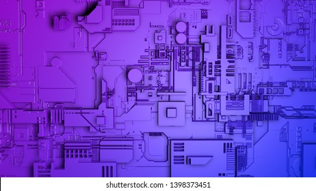 Approach to a wall of a spaceship with complex metallic structure in blue and purple. 3D Illustration