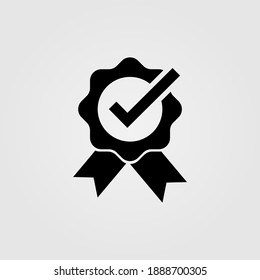 Approval badge, quality certificate icon. Service award sign.