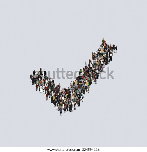approval symbol yes Large group of people, crowd forming various shapes across surface on grayish constant background for posters and advertisement.