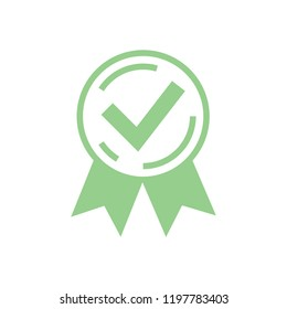 Approved certified icon. Certified seal icon. Rosette or Award icon, quality accepted check for customer choice recommended or medical test passed. Satisfaction seal with ok tick. Online test