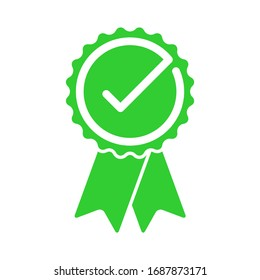 Approved certified rosette icon in flat style. Accredited and recommended medal symbol isolated on white background