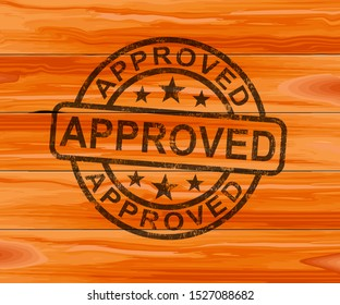 Approved concept icon shows endorsement of a contract to permit authority. Final approval and certification - 3d illustration