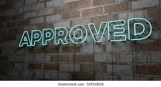 APPROVED - Glowing Neon Sign on stonework wall - 3D rendered royalty free stock illustration.  Can be used for online banner ads and direct mailers.