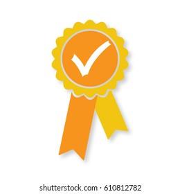 Approved orange medal icon. Elements for your design illustration