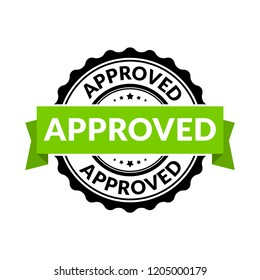 Approved seal stamp sign. rubber round permission symbol for approval background.