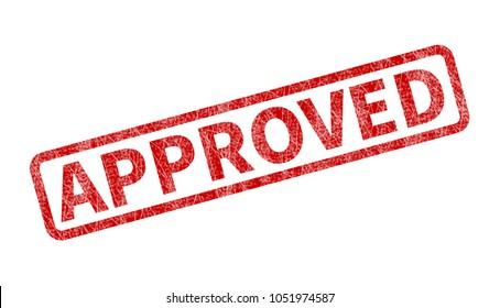 Approved Stamp - Red Grunge Seal. Rubber stamp isolated on white background.