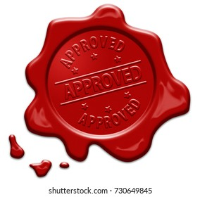 Approved text on red wax seal isolated on white with clipping path